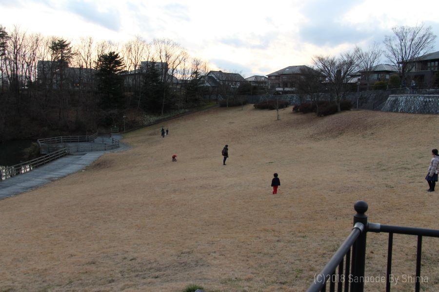 桂島緑地の北側広場 斜面で親子が楽しそうに遊んでいる 夕暮れの空が少し赤みを帯び始めた